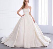 2018 Luxury White/Ivory/Beige Satin Lace Appliqu Wedding Dress Bridal Sizes 6-22