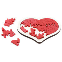 Heart-shaped Wooden Jigsaw Puzzle Montessori Kids Adults Brain Teaser Toys DB