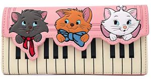 Loungefly Disney Aristocats Movie Piano Kitties Tri Fold Wallet Clutch WDWA1484