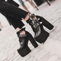 Womens Fashion Punk Buckle Strap Block High Heels Platform Shoes Ankle Boots