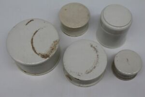 Set of 5 Unbranded Toothpaste / Ointment Vintage Pots with Lids
