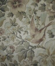 Vintage Floral Roses Bird Cotton Fabric ~ Soft Lavender Sage Gray Green