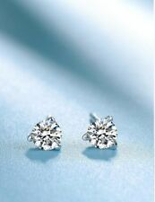 Unique 0.29Ct Round Cut Simulnt Diamond Halo Stud Earrings Silver White Gold Fns