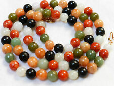 CHINESE VINTAGE 14K GOLD MULTICOLOR  JADE 8mm BEAD NECKLACE, 75 GRAMS
