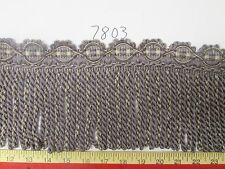 "6 yards BULLION ROPE FRINGE w/ Header 6"" Purple/Grey Fabric Trim A7803"