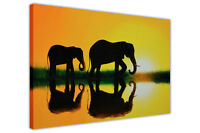 CANVAS PRINTS ELEPHANTS AT SUNSET WALL ART PICTURES PHOTO PRINTING NATURE POSTER