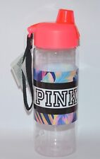 VICTORIA'S SECRET PINK FLORAL CORAL CLEAR WATER BOTTLE LARGE TO GO 32 OZ HANDLE