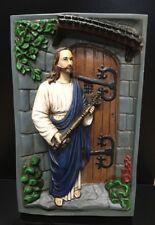 Vintage Wall Hanging RELIGIOUS CHALKWARE Shadow Box JESUS w/ Key to Heaven 17""