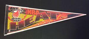 "Miami Heat VTG 90s Felt Pennant Red Orange Slam Dunk Full Size 30"" NBA Memorabil"
