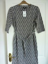 NEXT NAVY & STONE DAISY JACQUARD BELTED MIDI DRESS. UK 16, EUR 44, US 12. BNWT