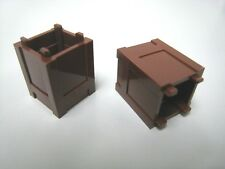 New Genuine 2x Lego Reddish Brown Container, Box 2 x 2 x 2 - Top Opening