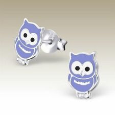 Girls Sterling Silver Owl Stud Earrings Lt Purple Kids Cute Studs Genuine 925