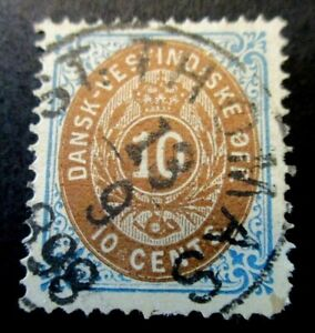 1874 Danish West Indies S#10, 10 cent Brown blue stamp Used