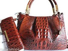 Brahmin Ruby Pecan Croco Embossed Leather Satchel Bag + Checkbook Wallet NWT
