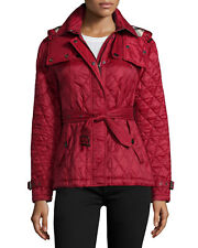 NWT Authentic BURBERRY FINSBRIDGE Short Hooded Quilted Jacket in DARK CRIMSON L