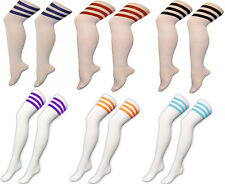 WOMENS GIRLS REFEREE STRIPE KNEE HIGH SOCKS OTK SPORT FANCY DRESS LONG WHITE