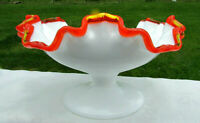 "FENTON RARE ""FLAME CREST"" Footed 2-Crimped Compote 7""W x 3.75""H MINT"