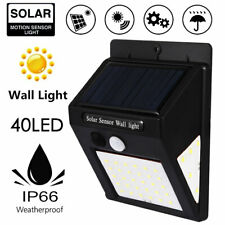 40 LED Solar Powered PIR Motion Sensor Wall Light Outdoor Garden Path Yard Lamp