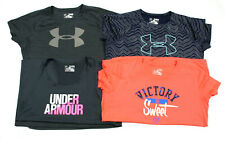 Under Armour Girls Logo Tee Shirt Workout Short Sleeve Sz YXL Heat Gear UA Lot 4