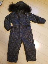 Europian 'add' snowsuit. Down bunting sz 3a, 3t , quilted  fabric, racuun fur