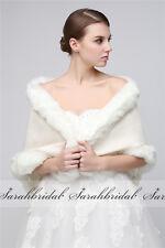 Black/White Faux Fur Wraps Bridal Wedding Party Shawl Stole Shrug Scarf Cape