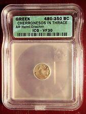 Rare 480-350 BC Greek Cherronesos in Thrace Silver Hemi Drachm ICG VF30!