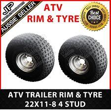 RIM AND TYRE PAIR ATV  22x11-8 FOR STUD, ATV, TRAILER. FARM, OFFROAD