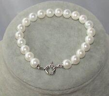Bracciale Braccialetto in perle Naturale vere colore bianco,8 mm,da donna