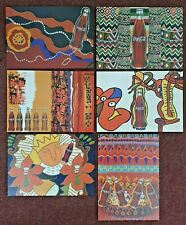 Set of 6 Coca Cola Folk Art Advertising Postcards, Exhibition Meadowhall 1997