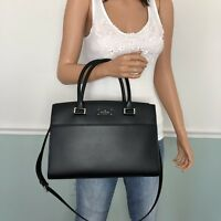 New Kate Spade Leather Satchel Tote Shoulder Bag Purse Black