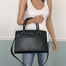New Kate Spade Leather Satchel Tote Shoulder Bag Purse Black
