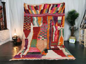 Boujad Handmade Moroccan Vintage Rug 5'5x8'6 Abstract Multicolor Berber Wool Rug