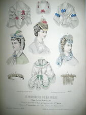 N° 40 TOILETTE COIFFES LITHO 21 x 30 CM DEFERNEVILLE LE MONITEUR DE LA MODE 1870