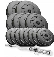 Power Trex 36kg Curl Bar Dumbbell Barbell Weights Set, Gym Barbells Pro