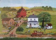 500 FOLK ART AMERICANA Lang JIGSAW PUZZLE in Tube COUNTRY FARM HOUSE RED BARN
