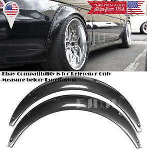 "2 Pcs 2.75"" Wide Black Carbon Effect Flexible Fender Flares Extension For Nissan"