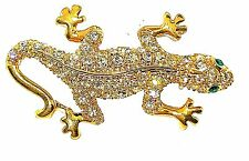 Lizard Gecko Critter Brooch Pin 11007 Austrian Crystals Rhinestone Charm Lapel