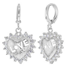 Love Heart Perforated Clear CZ Dangle Hoop Earrings for Girls and Teens