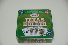 XXXL Texas Holder Embossed Tin Poker Game Set-Deck of Cards Casino Hold'em (J6)