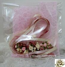 RIBBON LACE & ROSES - VINTAGE ROMANCE 'SMELL THE ROSES' PINKS & CREAMS