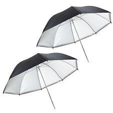 Kit 2x Parapluie Studio Reflecteur Diffuseur Détaché 2en1 Argent/Blanc 80cm