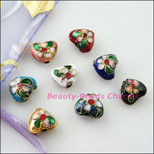 8pcs Mixed Cloisonne Enamel Heart Spacer Beads Charms 10.5x12.5mm