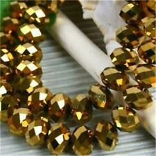 6x8mm Gold Crystal Faceted Abacus Loose Beads 72pcs##WBF6