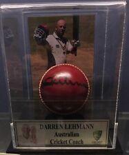 DARREN LEHMANN SIGNED BALL IN DISPLAY CASE