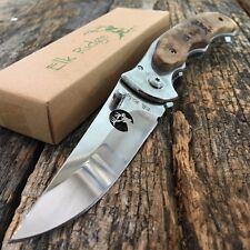 ELK RIDGE WOOD HANDLE FOLDING KNIFE 440 STAINLESS RAZOR SHARP HIGH POLISH NEW