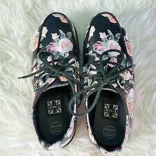 """TUK Floral Platform Creepers Womens Shoes Size 5 Lace Up Heel 2"""""""