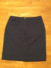 TALBOTS Dark Blue Knit Pencil Straight SKIRT Stretch Cotton Spandex size 10
