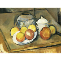 Paul Cezanne Straw Trimmed Vase Sugar Bowl And Apples Canvas Art Print Poster