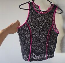 Bettina Liano black lace sleeveless pink streps crop top 10