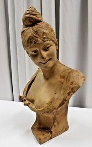 "Georges Van der Straeten ""Woman Bust"" Terracotta Sculpture Paris 1885"